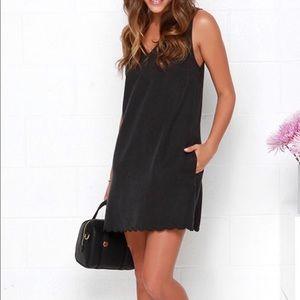 Lulu Honey Punch Washed Black Shift Dress